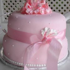 2 Tier Cake - Pink Fondant and Hibiscus Flowers