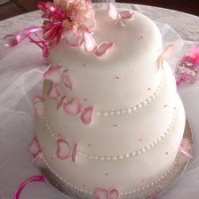 Tiered Cake with Pink Butterflies
